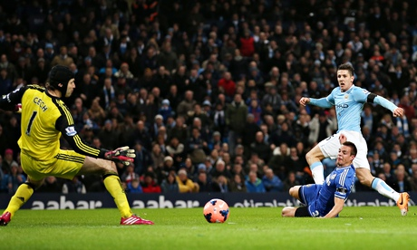 Stevan Jovetic scores the first goal for Manchester City in their 2-0 win over Chelsea in FA Cup.