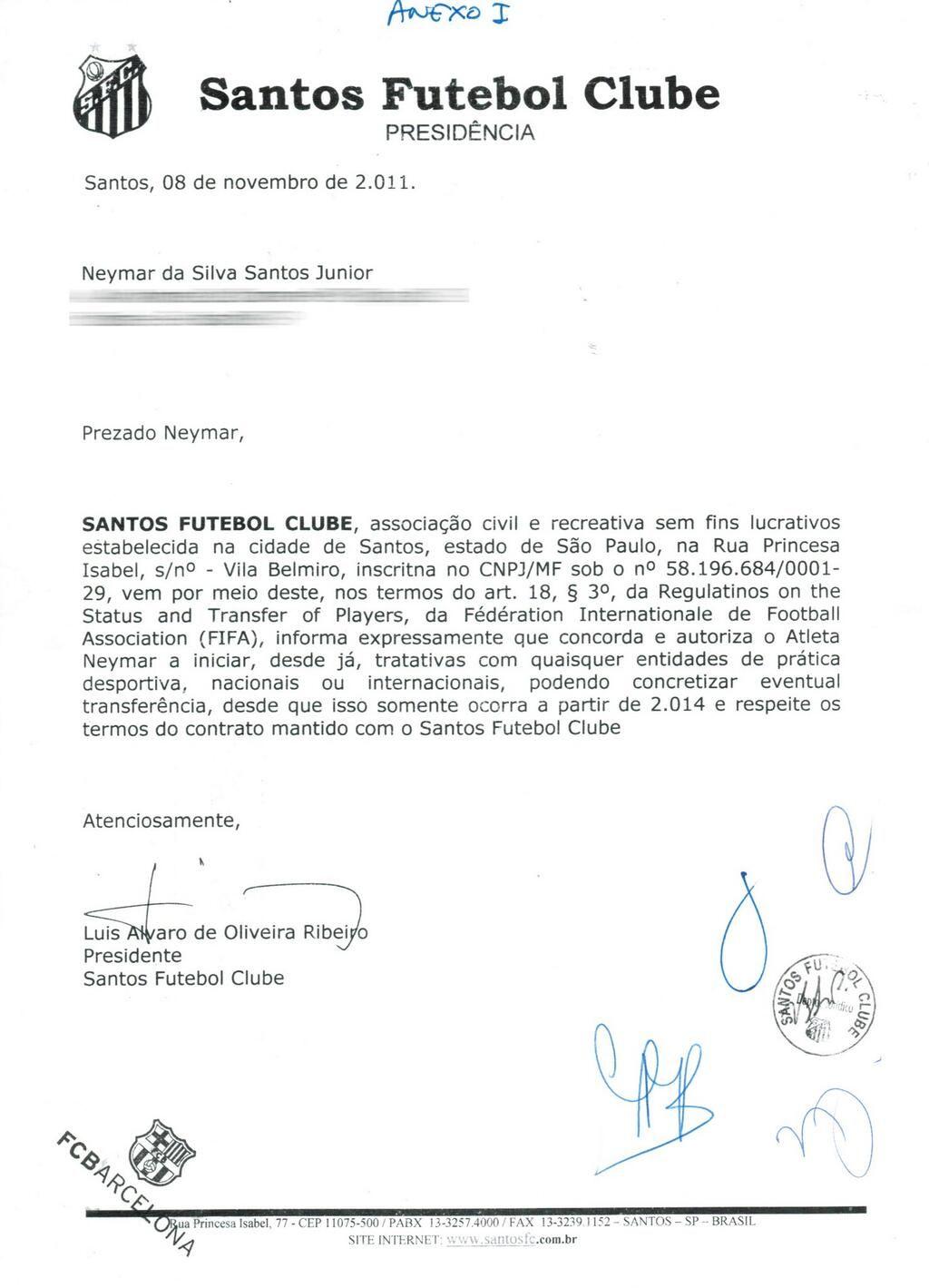Neymar divulgou carta do Santos nesta quarta-feira