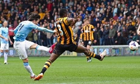 Manchester City's David Silva scores
