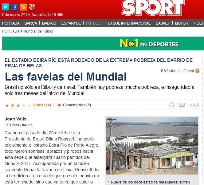 Artigo publicado pelo jornal 'Sport' faz duras críticas ao Beira-Rio