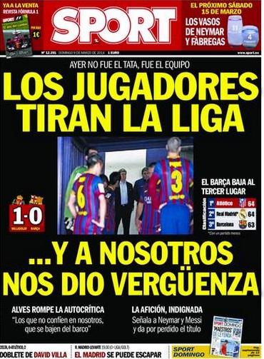 Capa do jornal 'Sport' faz duras críticas aos jogadores e fala em vergonha