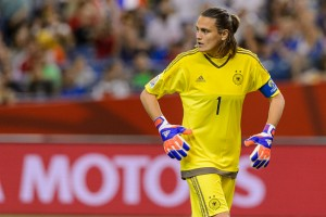 MONTREAL, QC - JUNE 26:  Nadine Angerer #1 of Germany looks behind her during the 2015 FIFA Women's World Cup quarter final match against France at Olympic Stadium on June 26, 2015 in Montreal, Quebec, Canada.  Germany defeated France 5-4 on penalty kicks and move to the semifinal round. (Photo by Minas Panagiotakis/Getty Images)