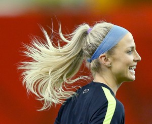 MONTREAL, QC - JUNE 29:  Julie Johnston #19 of the U.S. warms up during training at Olympic Stadium on June 29, 2015 in Montreal, Canada.  (Photo by Elsa/Getty Images)