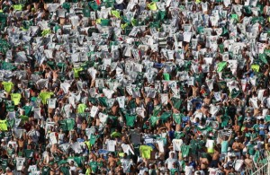 SAO PAULO, BRAZIL - SEPTEMBER 21: Palmeiras fans shows their Team Shirts during the match between Palmeiras and Sport for the Brazilian Series B 2013 at Pacaembu stadium on September 21, 2013 in Sao Paulo, Brazil. (Photo by Ricardo Bufolin/Getty Images)