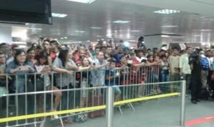 Torcida do Flamengo no aeroporto de Brasília