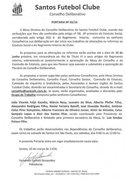 Divulgação Conselho Deliberativo Santos FC