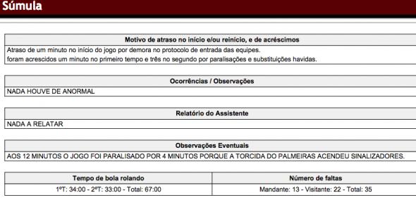Árbitro Vinicius Furlan relatou uso de sinalizadores pela torcida do Palmeiras. Foto: Reprodução