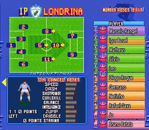 Nessa tela, Londrina dá a escalação à lá Superstar Soccer - Crédito da foto: Arte/Londrina Esporte Clube