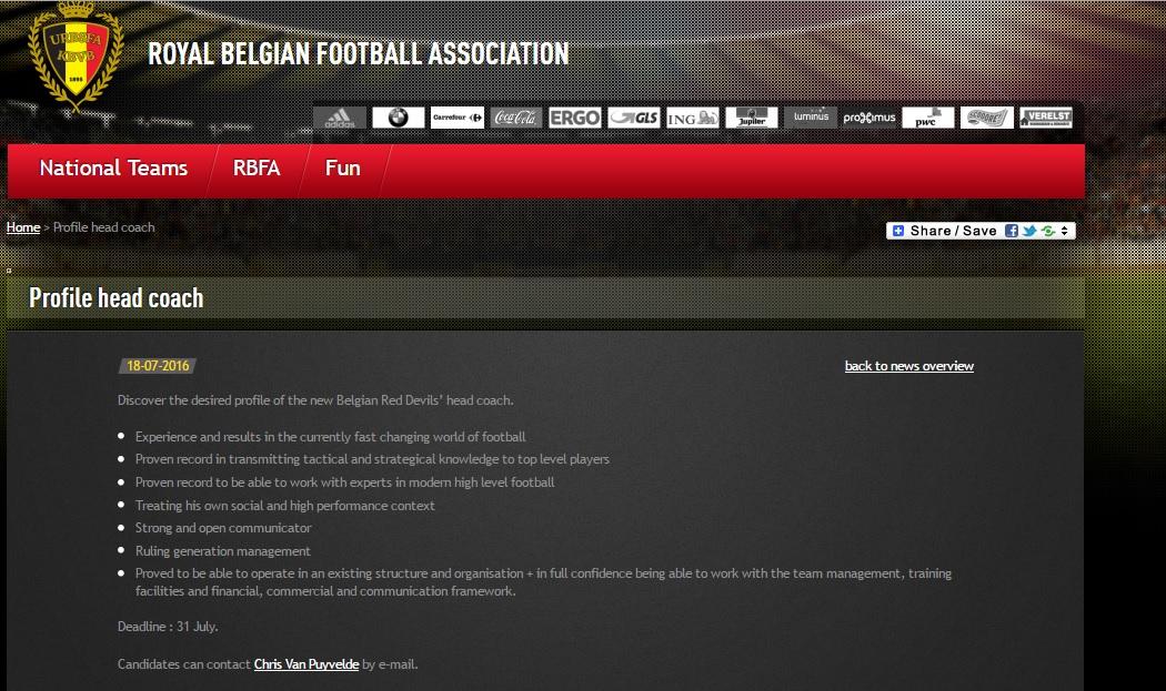 Crédito da foto: Reprodução / Site Oficial da Federação da Bélgica