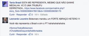 Ofensas homofóbicas e de caráter político à nadadora Joanna Maranhão. Reprodução