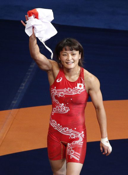 Kaori Icho, of Japan, celebrates after defeating Petra Maarit Olli, of Finland, during a women痴 freestyle gold-medal match at the wrestling world championships Thursday, Sept. 10, 2015, in Las Vegas. (AP Photo/John Locher)