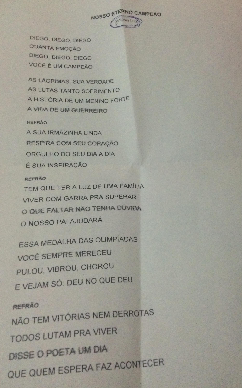 """Letra da música """"Nosso eterno campeão"""""""