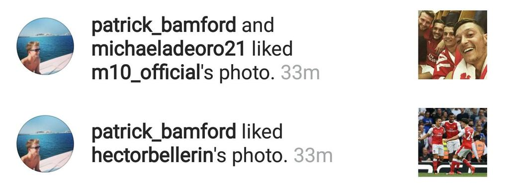 Jogador do Chelsea, Bamford curte fotos de Ozil e Bellerin, do Arsenal, no Instagram