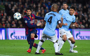 BARCELONA, SPAIN - MARCH 18:  Luis Suarez of FC Barcelona shoots towards goal during the UEFA Champions League round of 16 second leg match between FC Barcelona and Manchester City at the Camp Nou stadium on March 18, 2015 in Barcelona, Spain.  (Photo by David Ramos/Getty Images)