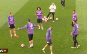 """Em treino do Real Madrid, Cristiano Ronaldo leva """"rolinho"""" de Danilo, Marcelo ri e português se irrita; assista"""