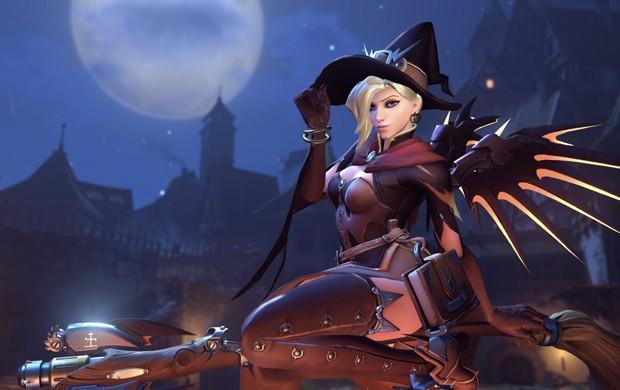 A curandeira Mercy em sua nova roupa temática de halloween, em 'Overwatch' (Foto: Divulgação/Blizzard)