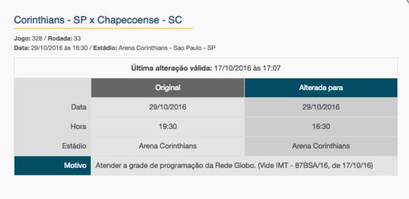 Globo fez mudança em rodada para passar o Corinthians em vez do Palmeiras. Foto: Reprodução/CBF