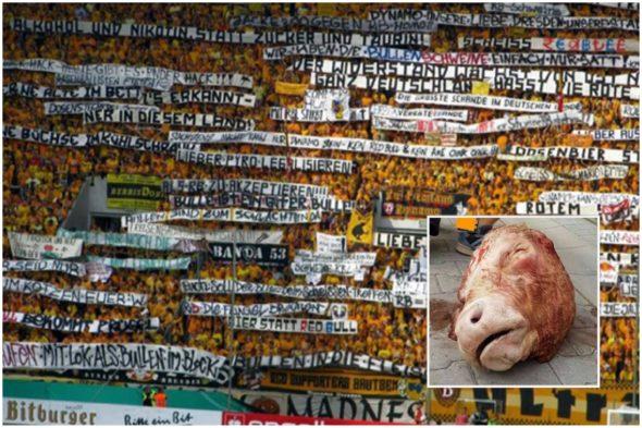 """Pela primeira fase da Copa da Alemanha, torcedores do Dynamo Dresden levantaram várias faixas em protesto contra o RB Leipzig, com frases como """"Álcool e nicotina em vez de açúcar e taurina"""" (em alusão à composição do enérgetico), """"Cerveja em vez de Red Bull"""" e """"Dynamo nosso amor, Dresden nossa cidade"""" e chegaram até a arremessar uma cabeça de touro na direção do campo"""