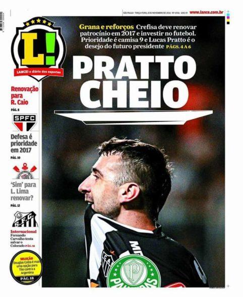 Capa do Lance! desta terça-feira informa interesse do Palmeiras em Pratto