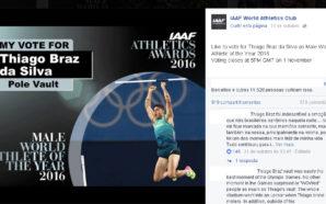 Prêmio de Melhor Atleta 2016 Thiago Braz lidera no facebook