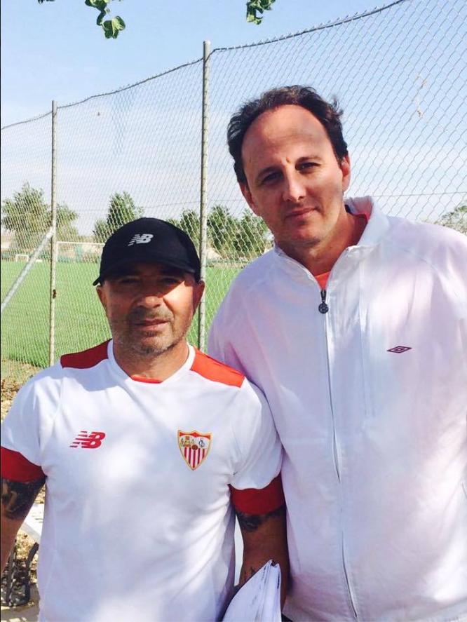 Rogério Ceni visita o técnico Sampoli em Sevilla (Facebook Oficial)