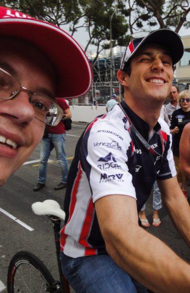 """Dmitry """"tietou"""" Bruno Senna durante o GP de Mônaco, em 2012 - Foto: Arquivo Pessoal"""