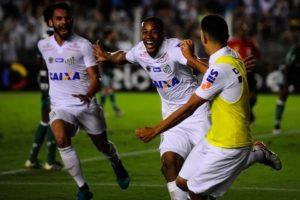 Copete comemorando o gol da vitória sobre o Palmeiras (Foto: Santos F.C.)