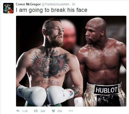 ''Eu vou quebrar sua cara'' avisa McGregor na busca por um combate contra Mayweather. (Reprodução/Twitter)