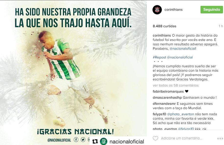 Reprodução/Instagram Corinthians