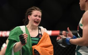 Oct 24, 2015; Dublin, Ireland; Aisling Daly (red gloves) reacts after defeating Ericka Almeida (blue gloves) during UFC Fight Night at 3 Arena. Mandatory Credit: Per Haljestam-USA TODAY Sports