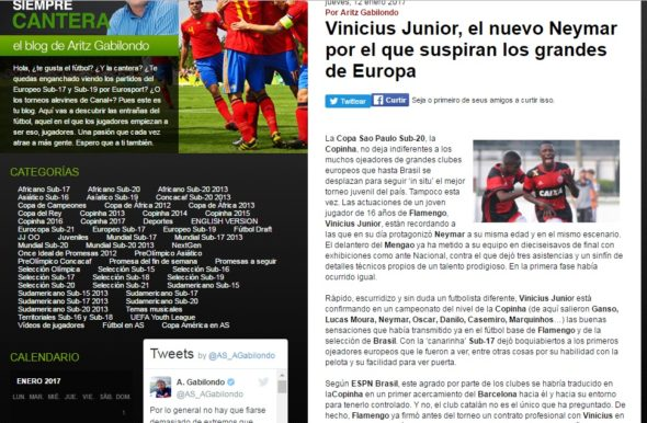 Vinicius Junior no AS