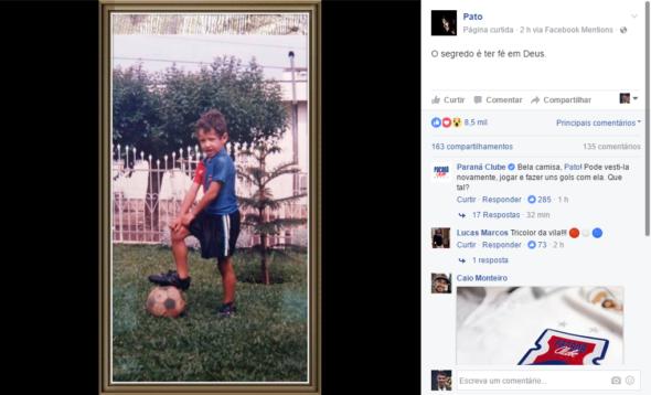 """Pato posta foto com camisa do Paraná, que faz """"convite"""""""