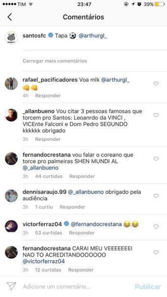 Victor Ferraz, lateral do Santos, interage com torcedor que rebate palmeirense no Instagram