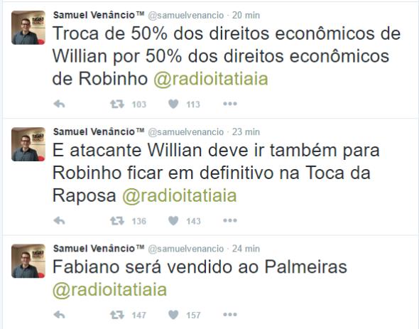 Cruzeiro E Palmeiras Devem Selar Troca Entre Willian E Robinho