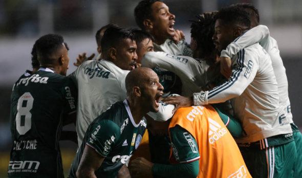 O jogador Willian, da SE Palmeiras, comemora seu gol contra a equipe do Santos FC, durante partida válida pela nona rodada, do Campeonato Paulista, Série A1, no Estádio da Vila Belmiro.
