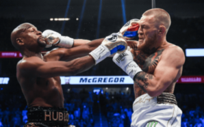 McGregor (à direita) contra Mayweather (Foto: Instagram oficial do UFC Brasil)