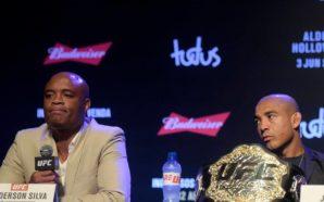 José Aldo e Anderson Silva em entrevista coletiva do UFC 212, no Rio de Janeiro
